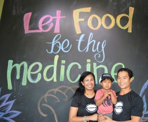 Owners Clay and Tamieka Grafft with son Jett at Simple Superfood Cafe