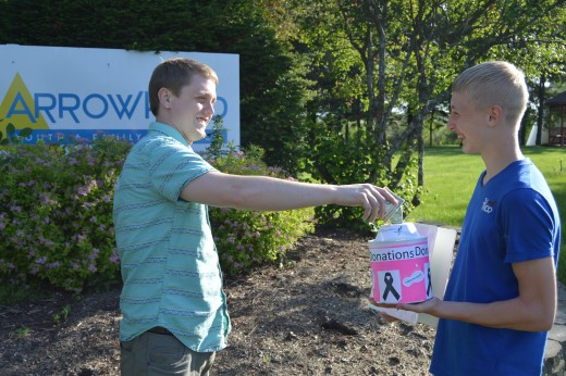 Arrowhead staff member, Logan Hagerman donates to Ben for the Race for the Cure.